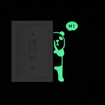 DSU Panda Say Hi Switch Luminous Wall Sticker Cartoon House Background Decor Decals - GREEN YELLOW 10X4CM