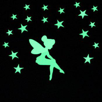 Fairy  Luminous Cartoon DIY Switch Wall Sticker Decoration Fluorescent Living Room Children Room Home Decor - GREEN YELLOW 13X10CM