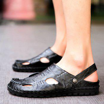 Men Sandals Hiking Fashion Summer  Leisure Casual Soft Sport Beach Slippers Shoes - BLACK 44