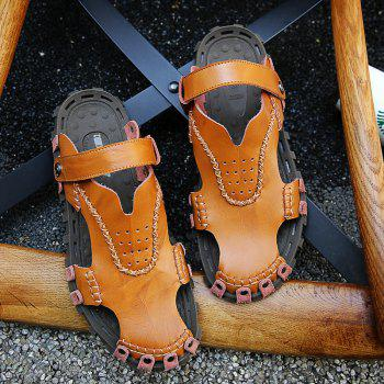 Men Sandals Hiking Fashion Summer Leisure Casual Soft Sport Slippers Beach Shoes - CAMEL BROWN 43