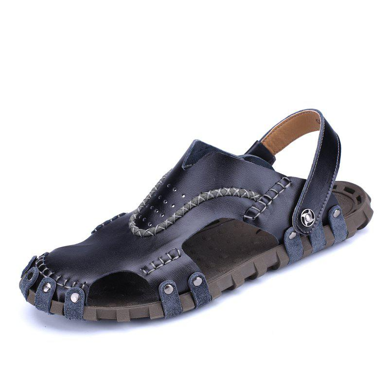Men Sandals Hiking Fashion Summer Leisure Casual Soft Sport Slippers Beach Shoes - BLACK 43