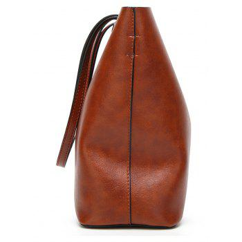 Fashion Tote Vintage Oily Large Capacity Shoulder Bag - BROWN