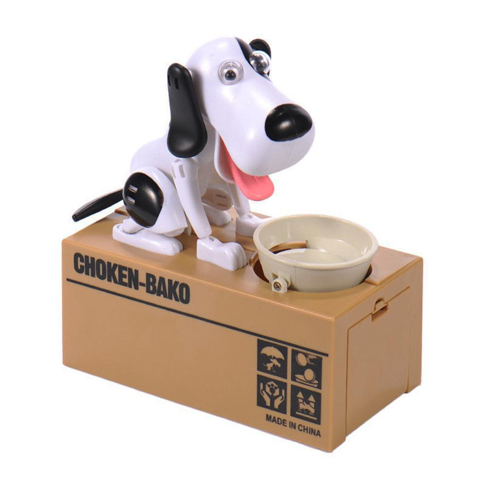 Children Birthday Gifts Eat Money Dog Piggy Bank Creative Toys - WHITE