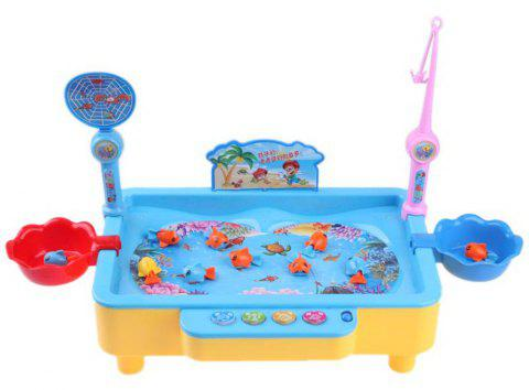 Electric Rotation Magnetic Fishing Toy with Music Songs Sound Kids Educational Game Board - ROYAL BLUE