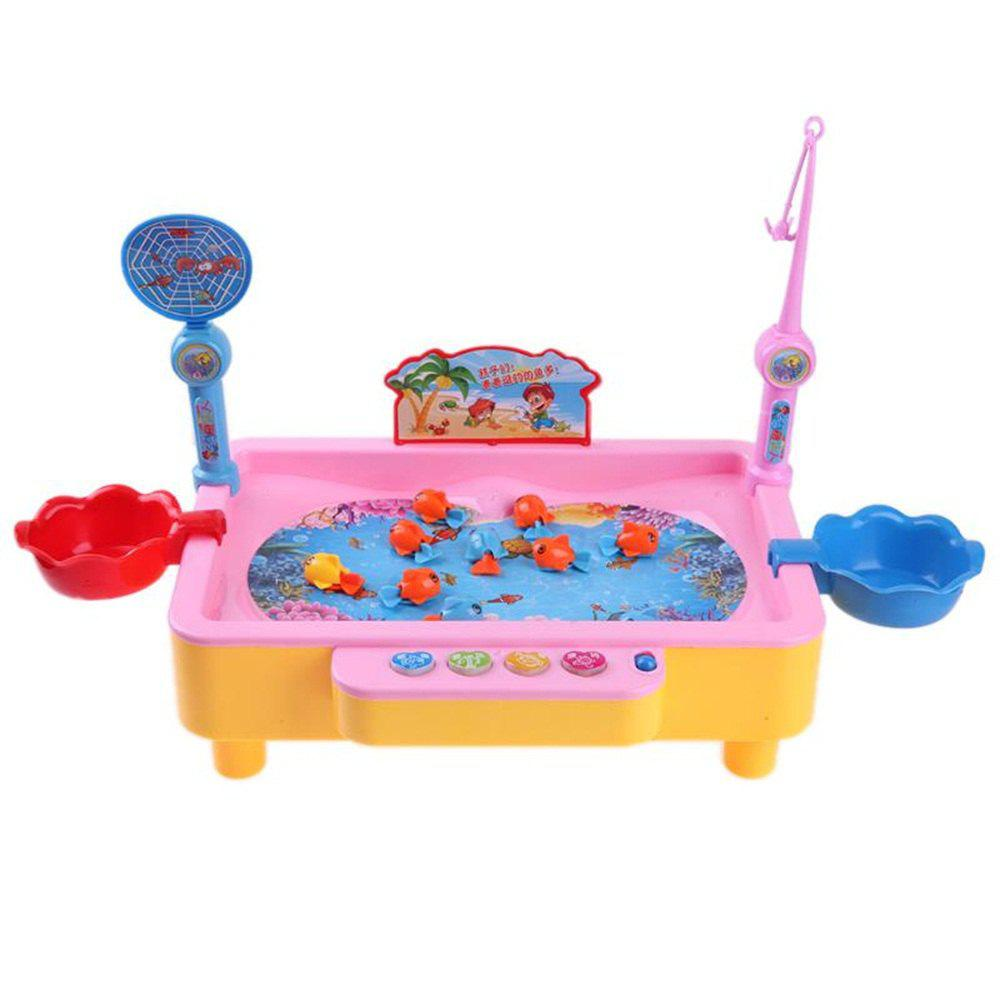 Electric Rotation Magnetic Fishing Toy with Music Songs Sound Kids Educational Game Board - LIGHT PINK