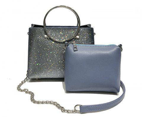 Two-piece Fashion Glitter Handbag Shoulder Messenger Bag - DENIM BLUE