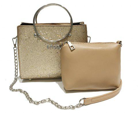 Two-piece Fashion Glitter Handbag Shoulder Messenger Bag - BROWN SUGAR