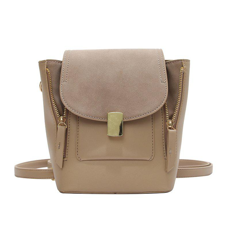 Simple Solid Color College Backpack - CAMEL BROWN