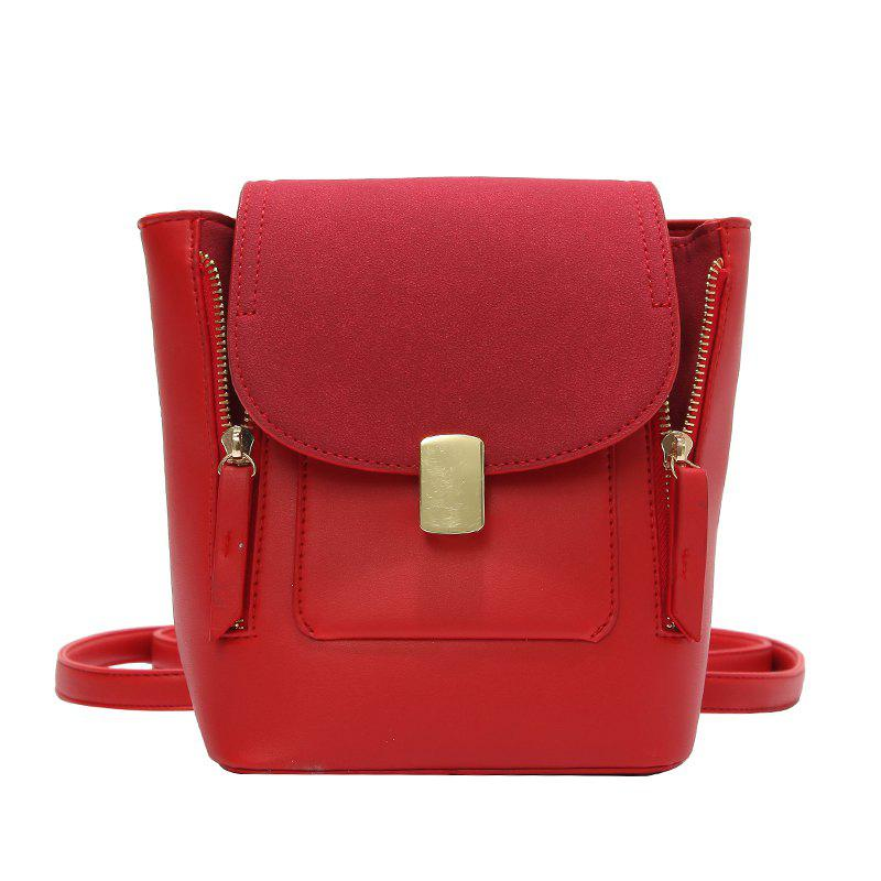 Simple Solid Color College Backpack - LAVA RED