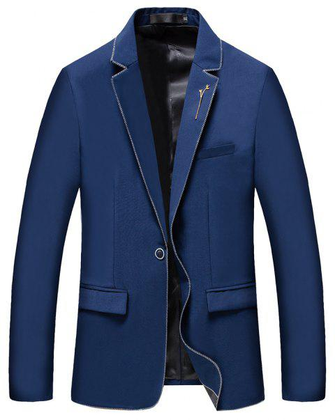 Men's New Fashion and Leisure Long Sleeved Suit - BLUE XL
