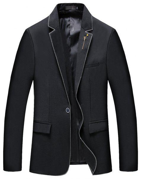 Men's New Fashion and Leisure Long Sleeved Suit - BLACK 2XL