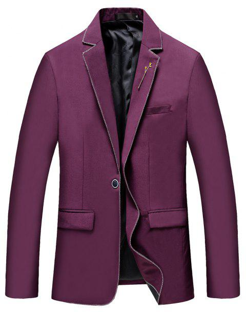 Men's New Fashion and Leisure Long Sleeved Suit - RED 3XL