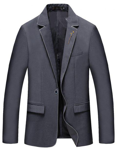 Men's New Fashion and Leisure Long Sleeved Suit - GRAY L
