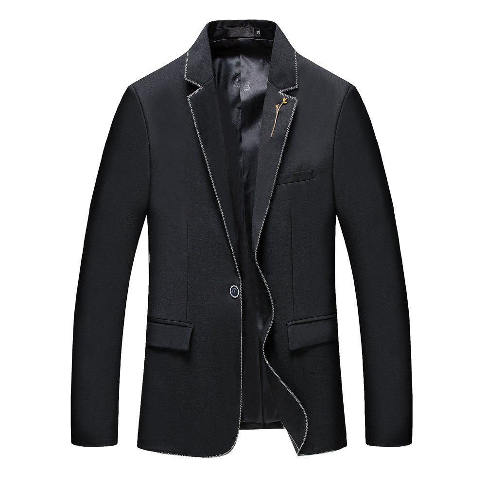 Men's New Fashion and Leisure Long Sleeved Suit - BLACK XL