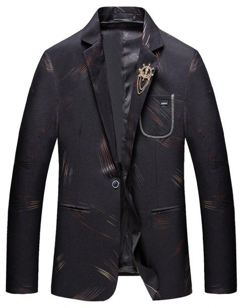 Men's Casual Long Sleeved Suit Coat - BLACK 2XL