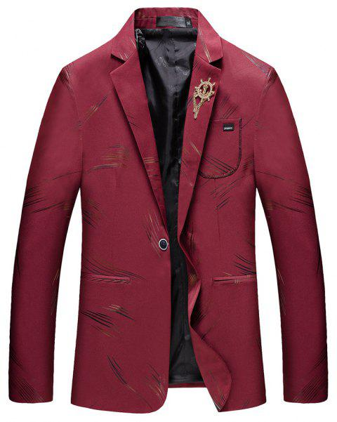 Men's Casual Long Sleeved Suit Coat - RED M