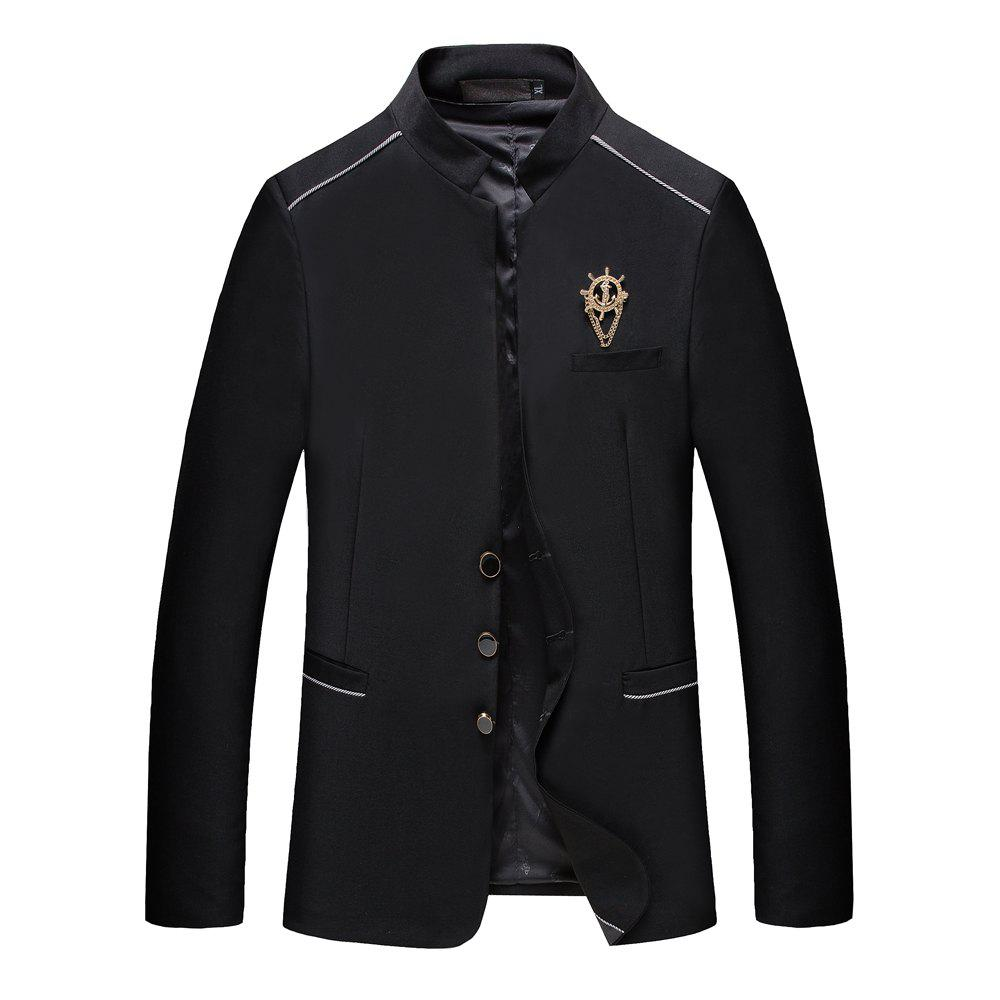 Men's Casual Long Sleeved Suit - BLACK M