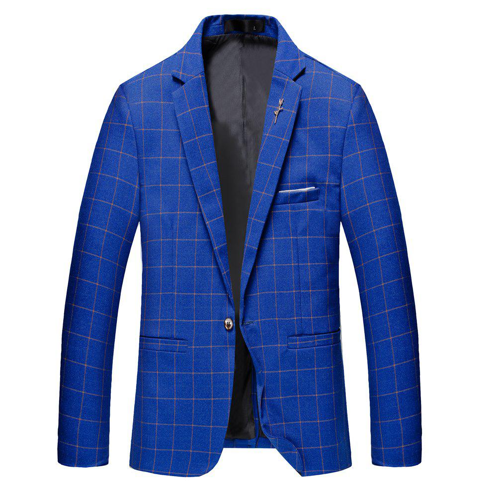 Men's Casual and Handsome Long Sleeved Suit - BLUE L