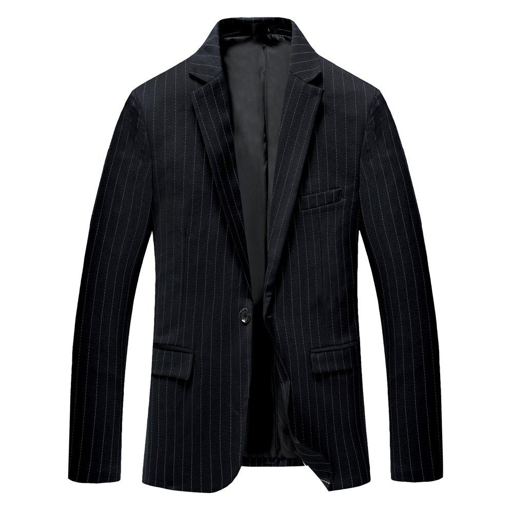 Men's Long Sleeved Jacket Suit - BLACK 3XL