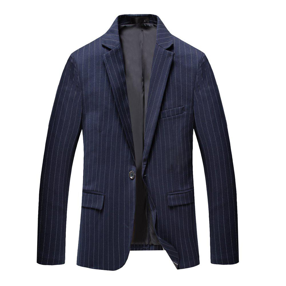 Men's Long Sleeved Jacket Suit - DARK SLATE BLUE L
