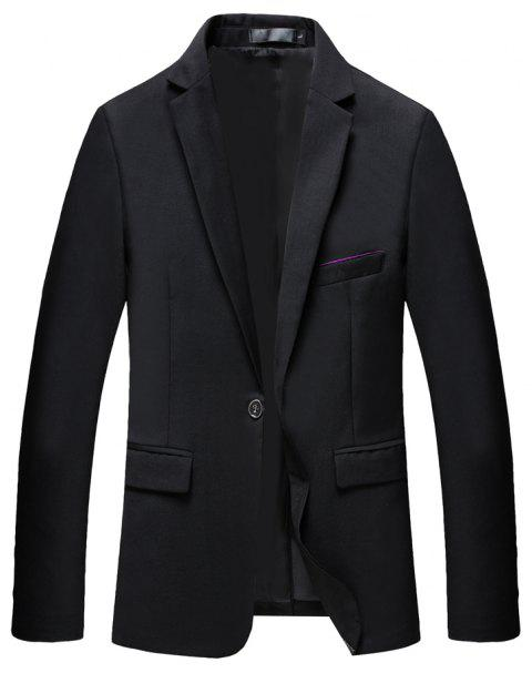Man's Pure Color Long Sleeved Suit - BLACK L
