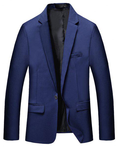 Man's Pure Color Long Sleeved Suit - BLUE 2XL