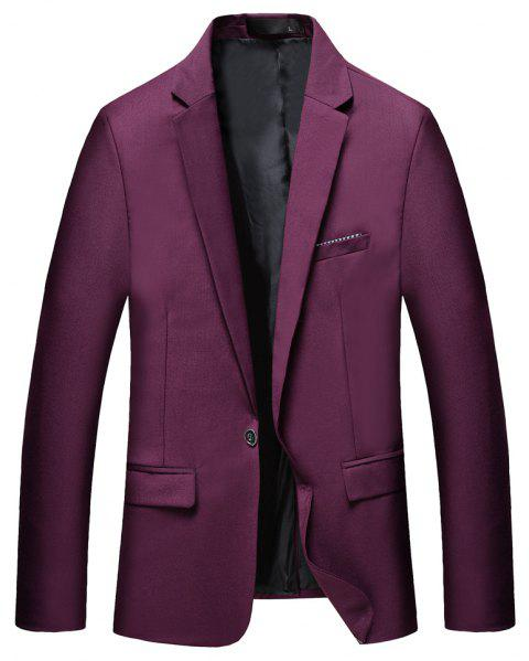 Man's Pure Color Long Sleeved Suit - RED XL