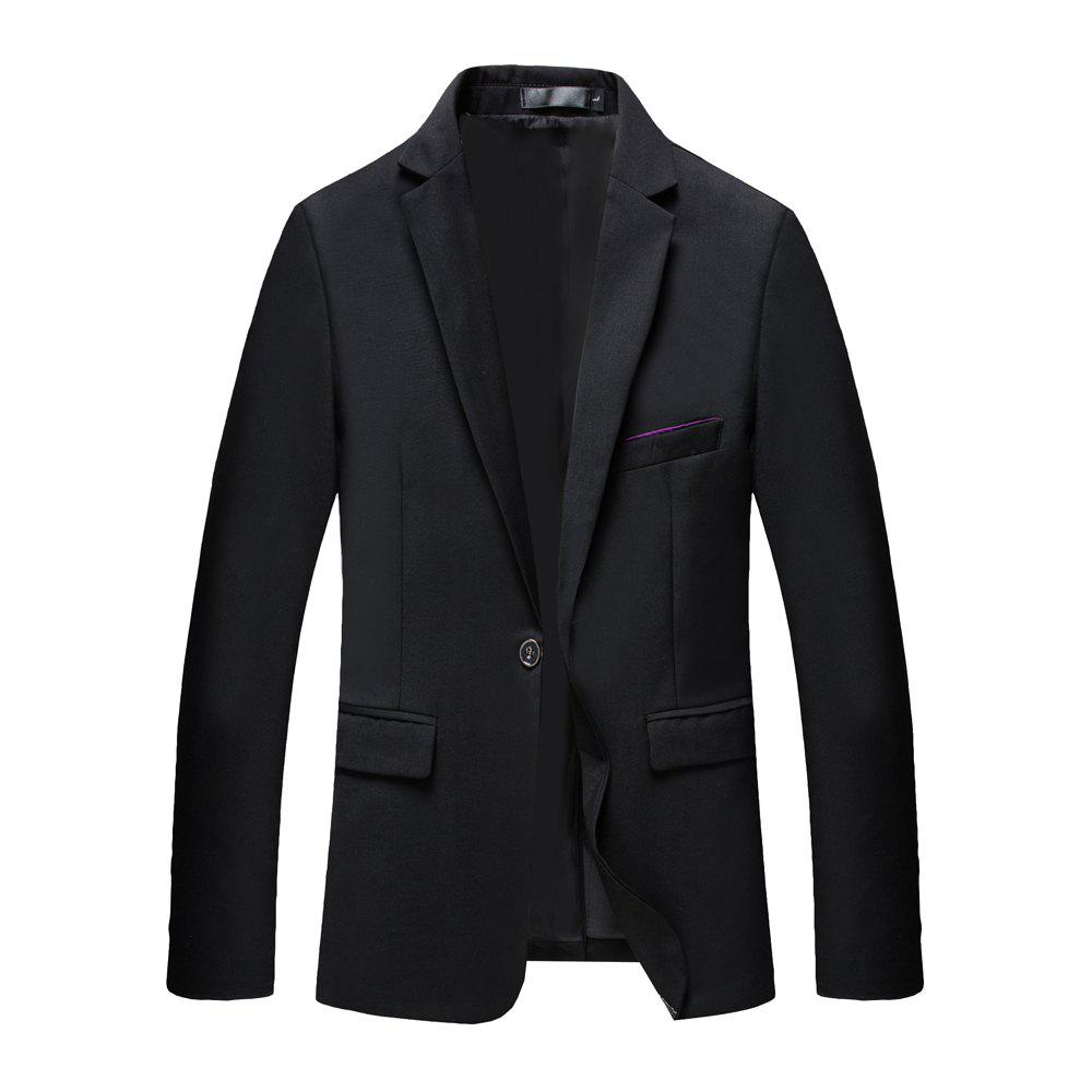 Man's Pure Color Long Sleeved Suit - BLACK M