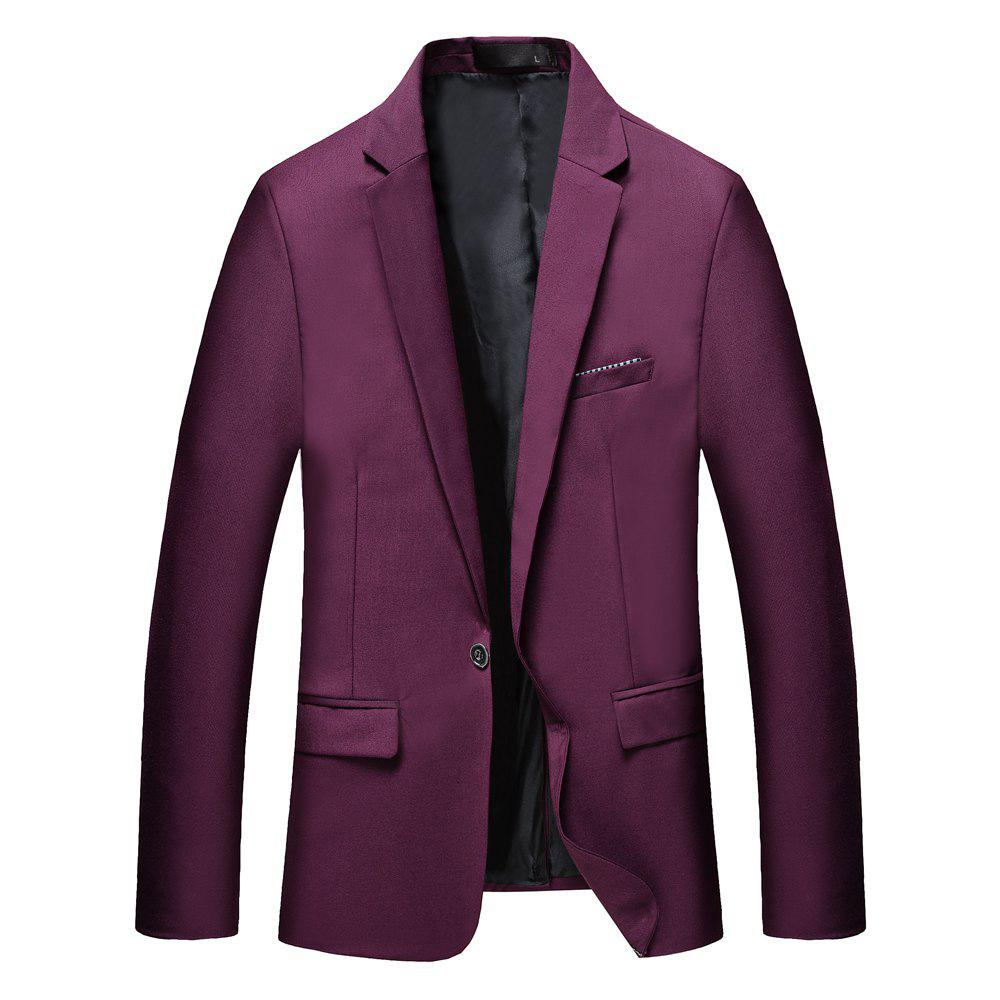 Man's Pure Color Long Sleeved Suit - RED M