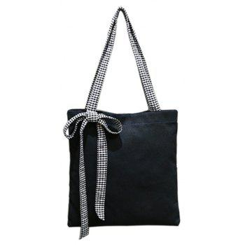 Ladies Simple Canvas Shoulder Bag Student Casual Handbag with Bowknot - BLACK VERTICAL