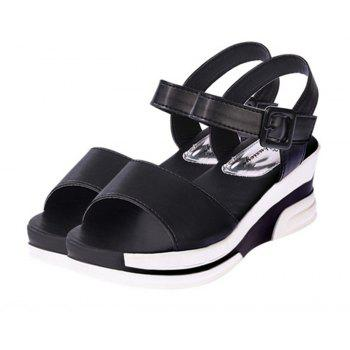 Women Summer Casual Flat Thick Sandals PU Leather Waterproof Shoes for Ladies - BLACK 37