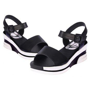Women Summer Casual Flat Thick Sandals PU Leather Waterproof Shoes for Ladies - BLACK 38