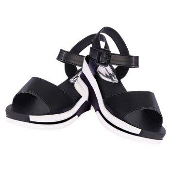 Women Summer Casual Flat Thick Sandals PU Leather Waterproof Shoes for Ladies - BLACK 35