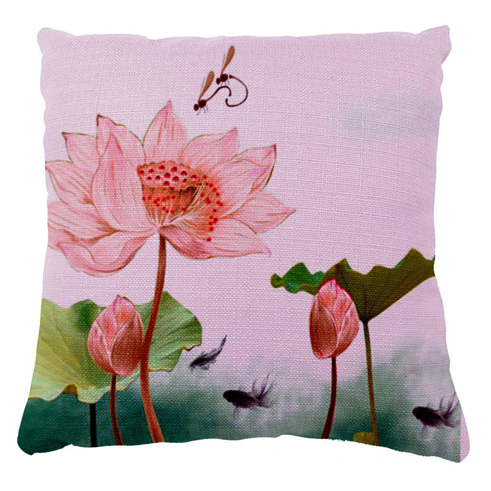 Summer lotus dragonfly Home Furnishing bedroom sofa pillow cushion cover - multicolor 16INCH X16INCH