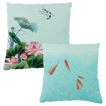 Summer Lotus Flower Small Fish Opera House Decoration Pillow Cover Car Sofa Cushion - multicolor 40CM*60CM