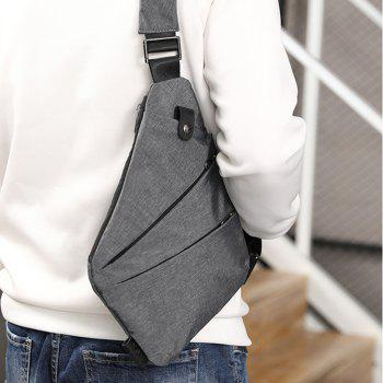 Men Canvas Bags Slanted With Sports Pockets - BLACK