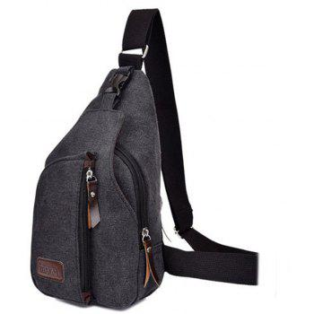 Sports Canvas Man Pack Multi-fonction extérieure Slanting Shoulder Bag - Noir