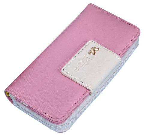 New Fashion Casual Women Long Zipper Leather Purses Credit Card Holder Phone Wallet Purse Handbag - CARNATION PINK