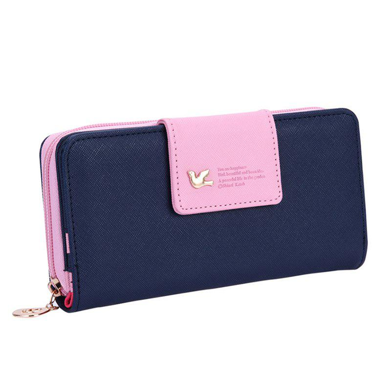 New Fashion Casual Women Long Zipper Leather Purses Credit Card Holder Phone Wallet Purse Handbag - DENIM DARK BLUE