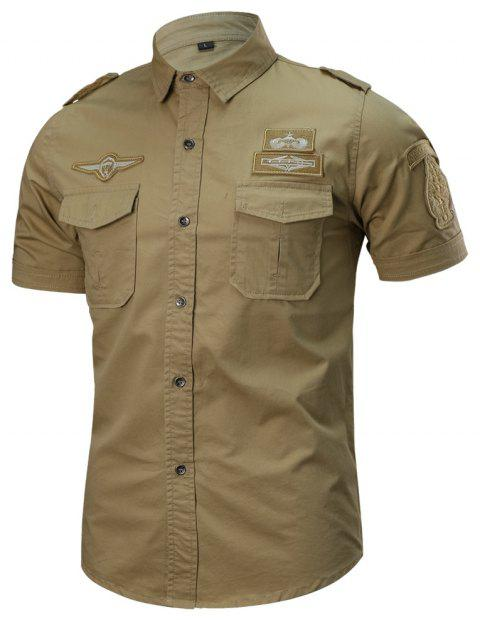 Men's Summer Short Sleeve  Military  Shirt - SUN YELLOW M