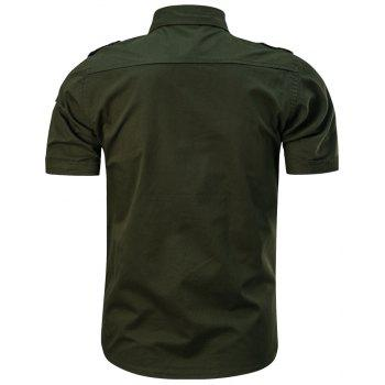 Men's Summer Short Sleeve  Military  Shirt - MEDIUM SEA GREEN 4XL