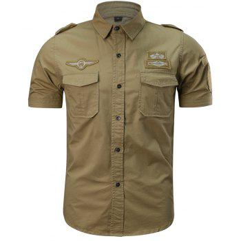 Men's Summer Short Sleeve  Military  Shirt - SUN YELLOW 3XL