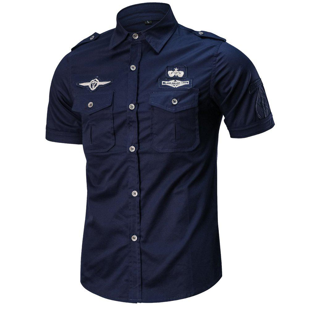 Men's Summer Short Sleeve  Military  Shirt - NAVY BLUE XL
