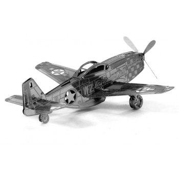 Creative Mustang Aircraft 3D Metal High-quality DIY Laser Cut Puzzles Jigsaw Model Toy - SILVER