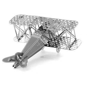 Creative Biplane Fighter 3D Metal High-quality DIY Laser Cut Puzzles Jigsaw Model Toy - SILVER