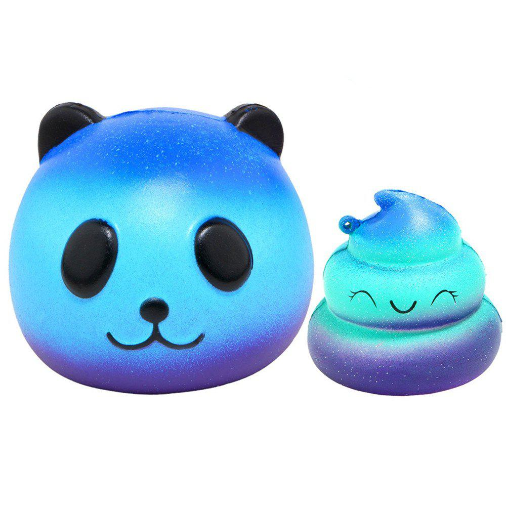 Jumbo Squishy Galaxy Panda and Emoji Stress Relief Soft Toy for Kids and Adults 2PCS - ROYAL BLUE