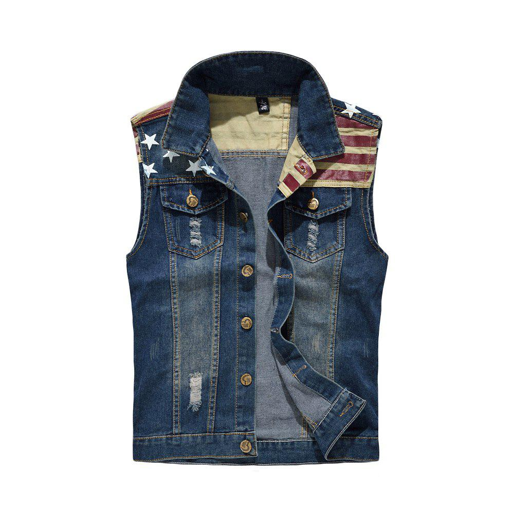 Men's Denim  Fashion Style Cool Flage Patchwork Hole Design Washed Vest - BLUE XL