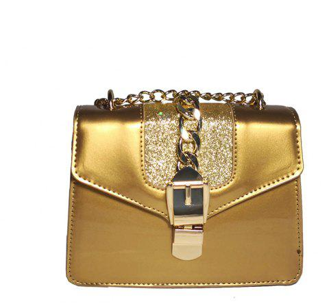 Fashion Patent Leather Bright Chain Personalized Lock Shoulder Oblique Small Square Bag - GINGER BROWN