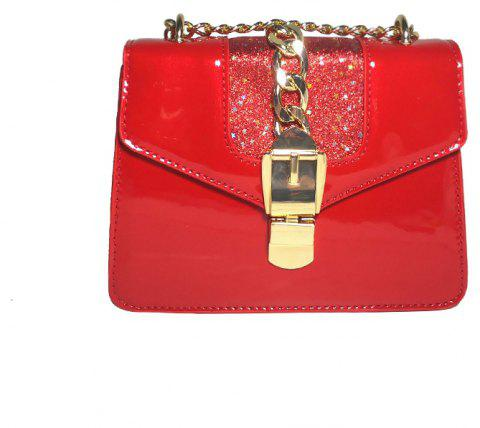 Fashion Patent Leather Bright Chain Personalized Lock Shoulder Oblique Small Square Bag - FERRARI RED