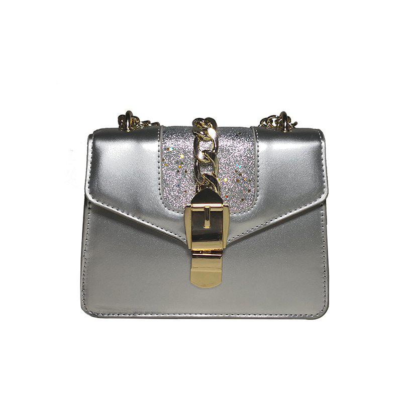 Fashion Patent Leather Bright Chain Personalized Lock Shoulder Oblique Small Square Bag - SILVER